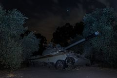 A Memorial Monument Khativa 7 at night. Killed tank is on battlefield in Valley of Tears, since the Doomsday War of 1973, on Golan