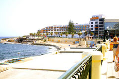 Qawra from Bugibba, Malta. Stock Photo