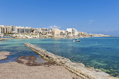 Qawra, Malta. View on Qawra, Malta as seen from across the bay. Qawra is a small town located in the northeast of the island Royalty Free Stock Photography