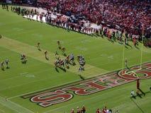 QB Sam Bradford sets to throw deep. SAN FRANCISCO, CA - NOVEMBER 14: St.Louis Rams vs. San Francisco 49ers: Rams QB Sam Bradford sets to throw deep in 49ers royalty free stock photos