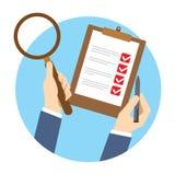 Qc kontrola jakości czek ilustracja wektor