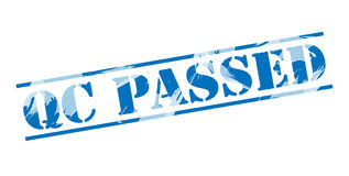 Qc passed blue stamp. On white background Stock Photography