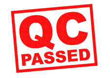 QC PASSED. Red Rubber Stamp over a white background Stock Photography