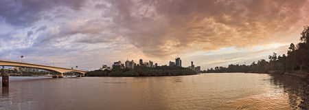 QE Brisbane River CBD Pan Stock Photography