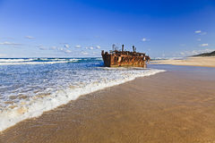 QE FI Beach Shipwreck Stock Photo