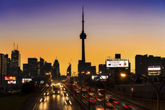 QEW entering downtown Toronto, twilight scene Royalty Free Stock Photo