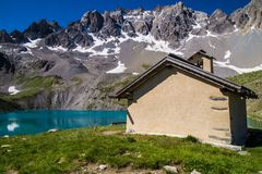 Lake sainte anne qeyras in hautes alpes in france Royalty Free Stock Photos