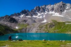 Lake sainte anne qeyras in hautes alpes in france Stock Images