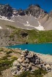Lake sainte anne qeyras in hautes alpes in france. Qeyras in hautes alpes in france stock photography