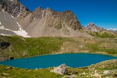 Lake sainte anne qeyras in hautes alpes in france. Qeyras in hautes alpes in france stock images