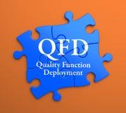 QFD на голубых частях головоломки. Концепция дела. иллюстрация вектора