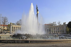 QFountain named. Fountain named High Stream on the square Schwarzenbergplatz in front of the Russian Memorial in Vienna, Austria Stock Image