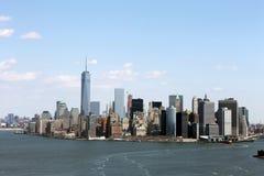 QG do helicóptero da skyline de New York City fotografia de stock