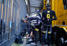 Qhubeka Cycling team riders before training Stock Images