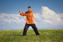 Qi-Gong outdoor. A man doing Qi-Gong in the green nature Stock Photos