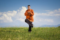 Qi-Gong outdoor. A man doing Qi-Gong in the green nature Royalty Free Stock Image