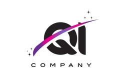 QI Q I Black Letter Logo Design with Purple Magenta Swoosh Stock Photography