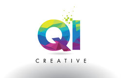 QI Q I Colorful Letter Origami Triangles Design Vector. Royalty Free Stock Images
