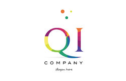 Qi q i  creative rainbow colors alphabet letter logo icon Stock Images