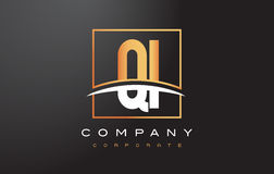 QI Q I Golden Letter Logo Design with Gold Square and Swoosh. Royalty Free Stock Photography