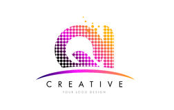 QI Q I Letter Logo Design with Magenta Dots and Swoosh Stock Photos