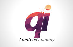 QI Q I Letter Logo Design with Purple Forest Texture Flat Vector Royalty Free Stock Image