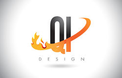 QI Q I Letter Logo with Fire Flames Design and Orange Swoosh. Stock Photos