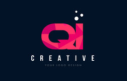 QI Q I Letter Logo with Purple Low Poly Pink Triangles Concept Royalty Free Stock Images