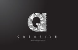 QI Q I Letter Logo with Zebra Lines Texture Design Vector. Royalty Free Stock Photography