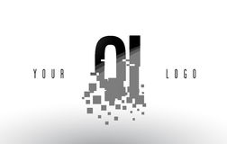 QI Q I Pixel Letter Logo with Digital Shattered Black Squares Royalty Free Stock Images