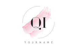 QI Q I Watercolor Letter Logo Design with Circular Brush Pattern Stock Photos
