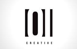 QI Q I White Letter Logo Design with Black Square. Stock Image