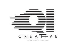 QI Q I Zebra Letter Logo Design with Black and White Stripes Stock Photos