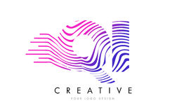 QI Q I Zebra Lines Letter Logo Design with Magenta Colors Royalty Free Stock Image