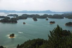 Qiandao Lake. This is a full view of Qiandao lake. Qiandao Lake (also called thousand islands lake) is a man-made lake located in Zhejiang, China. It is a resort Stock Photos