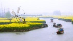 Qiandao pole, pora deszczowa, Chiny obraz stock