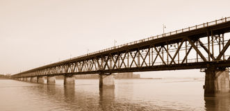 QianJiang bridge in hangzhou. Qianjiang bridge on QianTang river, was built by MaoYisheng in 1934, is a landmark of Hangzhou Royalty Free Stock Image