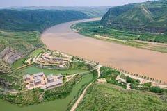Qiankun krökning av Yellow River arkivfoto