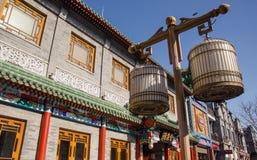 Qianmen gata i Peking, Kina Arkivbild