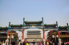Qianmen gata i Peking, Kina Royaltyfria Foton