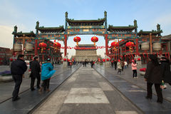 Qianmen Straße in Peking, China Lizenzfreie Stockfotos