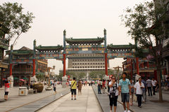 Qianmen Tower and Qianmen Walking Street in Beijing Stock Image