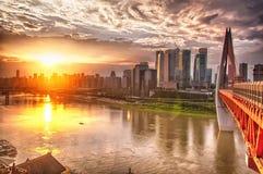 Qiansimen Jialing Jiang River Bridge Chongqing China sunset royalty free stock photos