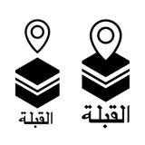 Qibla läge - muslim förvarar riktningen för bön Vektorisolator Arkivbilder