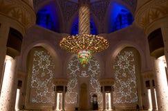 Qibla vägg i Sheikh Zayed Mosque i Abu Dhabi, Förenade Arabemiraten Arkivfoto