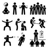 Qigong Qi Energy Power Icons. A set of human pictogram representing a master of qi gong performing its power and abilities Stock Photography