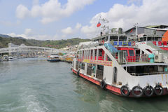 Qigu ferry ship of gushan ferry pier. Inner harbor of gushan pier, kaohsiung city, taiwan stock photo