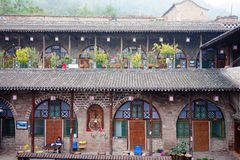 Colorful building from Qikou Ancient Tow inn. Colorful buildings along Chinese Yellow River royalty free stock image