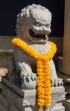 Qilin asian mythological statue in Thailand buddhist temple. Qilin asian mythological animal guard statue in Thai Buddhist temple entrance, Thailand stock photos