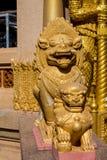 Qilin asian mythological statue in Thailand buddhist temple. Qilin asian mythological animal guard statue in Thai Buddhist temple entrance, Thailand stock image